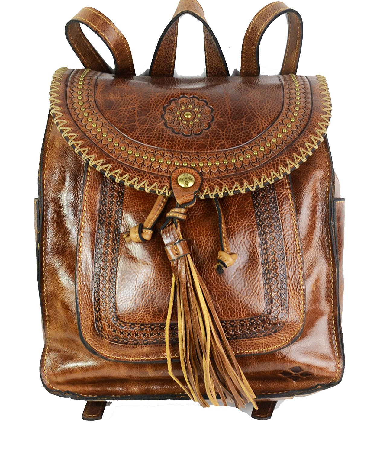 13d4d08fd488 Get Quotations · Patricia Nash Jovanna Distressed Leather Collection Tassel  Cognac Backpack