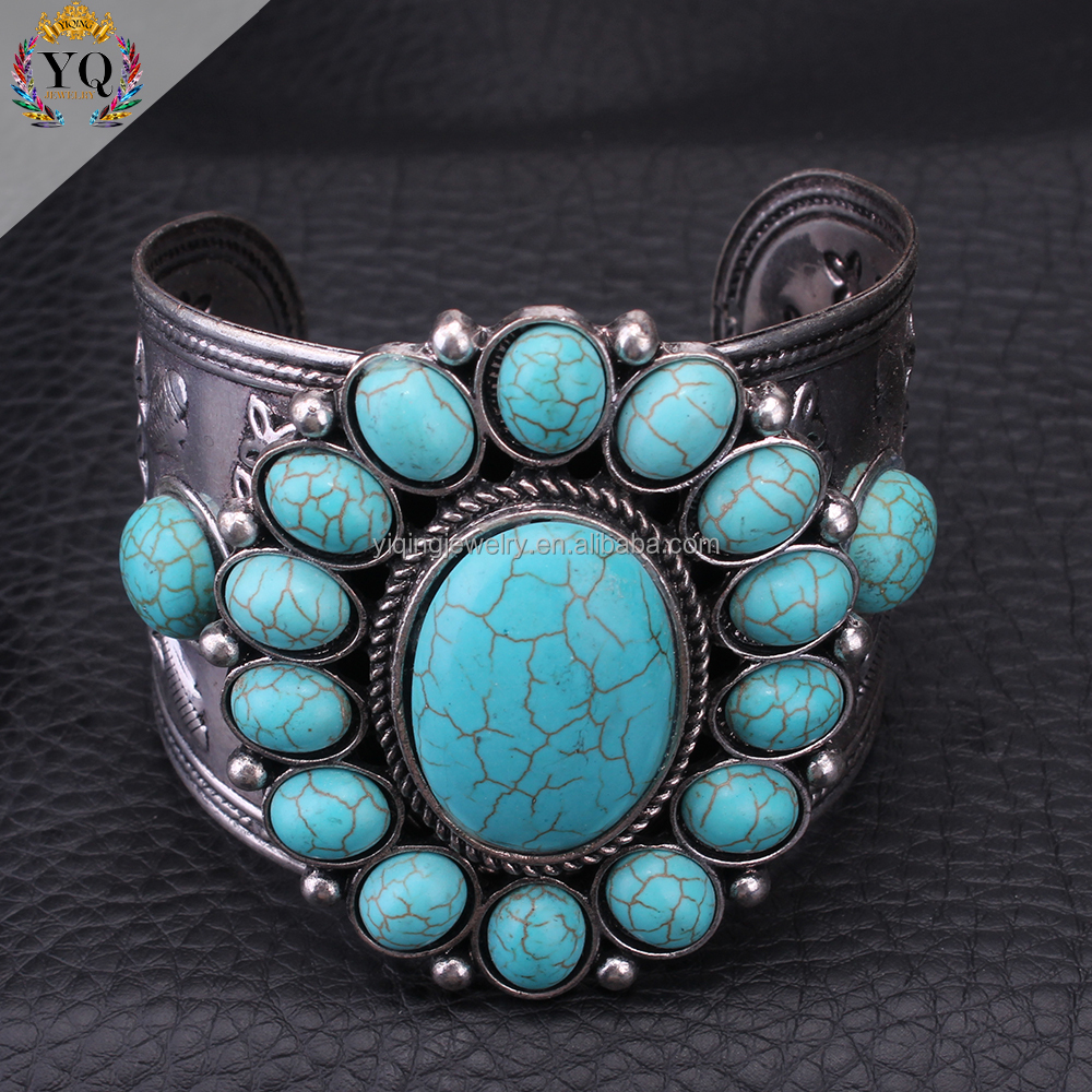 BYQ-00036 fancy turquoise stone silver jewelry chunky metal alloy open cuff bangle bracelet
