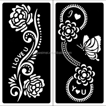 Painting templates 15 pcs stencils for tattoo henna for Henna temporary tattoo stencils
