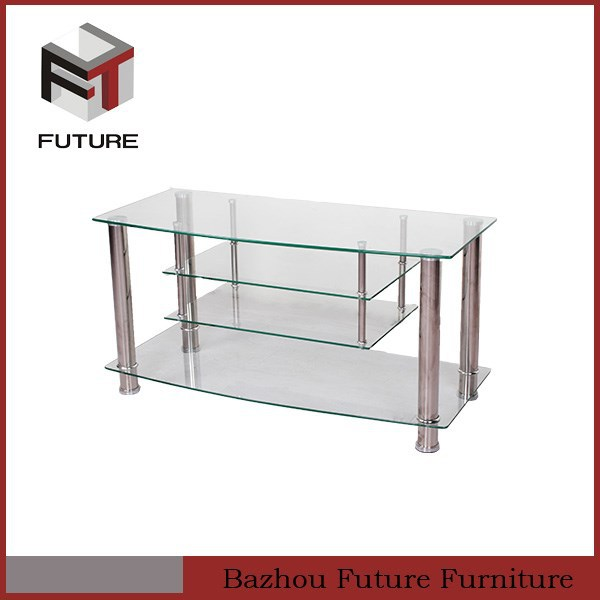 clear glass layers metal legs hot selling living room tv stand