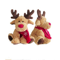 Christmas Plush Elk Stuffed Animal Reindeer Toys With Red Scarf