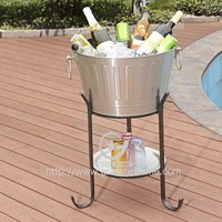 Ice Bucket with Stand Galvanized Metal Party Ice Bucket with tray