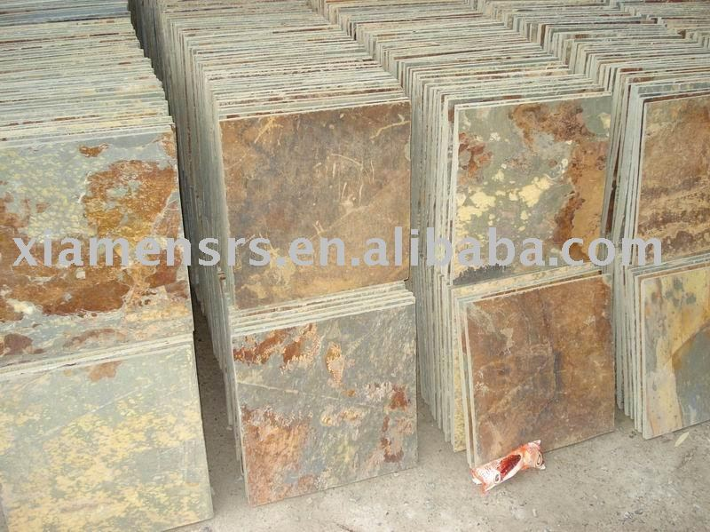 Multicolor Rustic Natural Slate Floor Tile Stone Stacked Product On Alibaba
