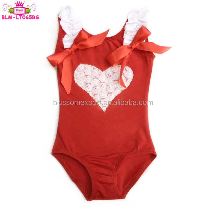 Valentine's Day Sweet Toddler Red Tank Gymnastics Leotard Rosette Heart Valentine Baby Girl Ballet Leotard