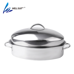 Eco-friendly 100% food grade microwave chicken turkey roaster roasting pan with rack turkey roaster pan