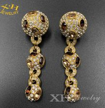 US Hot Sale Fashion Long Drop Chunky Brass Stud Earring with Topaz Crystal Oval and Clear stone