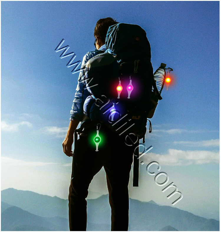 Led Plastic Bag Light for Backpack Safety Light Accessory for Camping Climbing Hiking