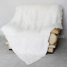 CX-D-10H Bed Cover Sofa Fur Rabbit Fur Knitted Throw Blanket
