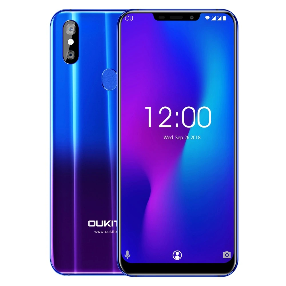 Wireless charge smartphone OUKITEL U23 6.18 inch Notch Display Helio P23 Octa Core 6GB+64GB Face ID Android 8.1 Gradient purple