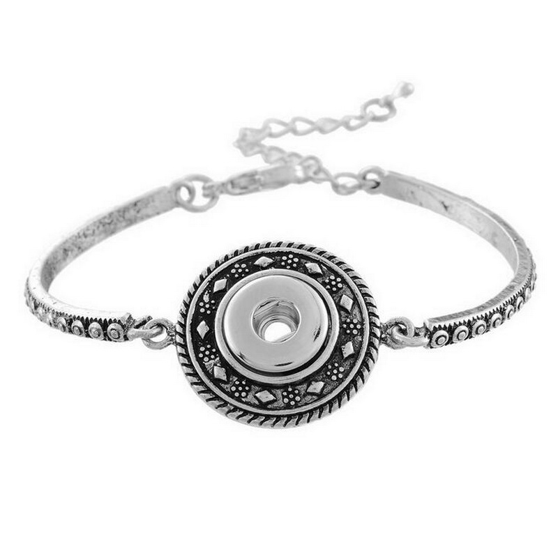 Unique Design Fish Bone Bracelet Silver Plated Engraved Metal Flower Chain Extender Snap Charms Bracelets Wholesale