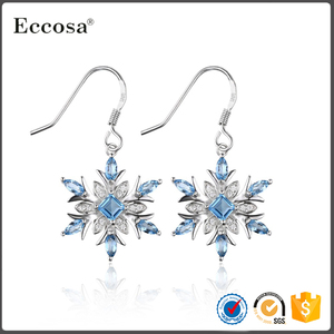 925 Sterling Silver Blue Crystal Snowflake Earring for Women