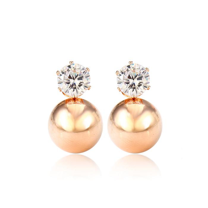 Xuping gold pearl diamond earrings, earrings woman, latest trends pearl earring designs фото