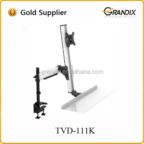 Hot sell gas spring flexible extension swing arm lcd monitor stand with keyboard