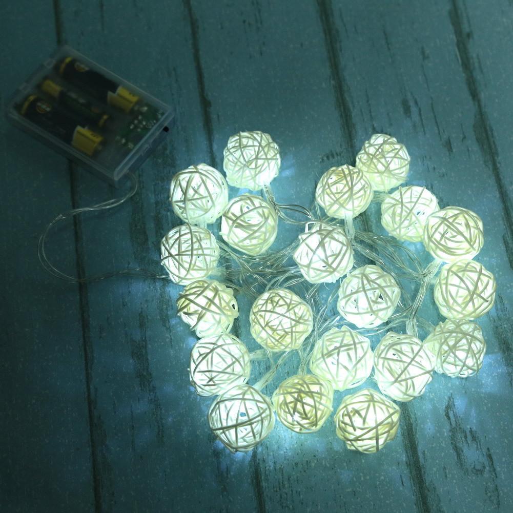 1.5M Globe Rattan Ball String Lights dia4cm feet 10 LED Warm White Fairy Light for Indoor