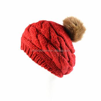 Mão de malha de lã Merino misturado tampão feito malha beanie chapéus ... 47b00edf267