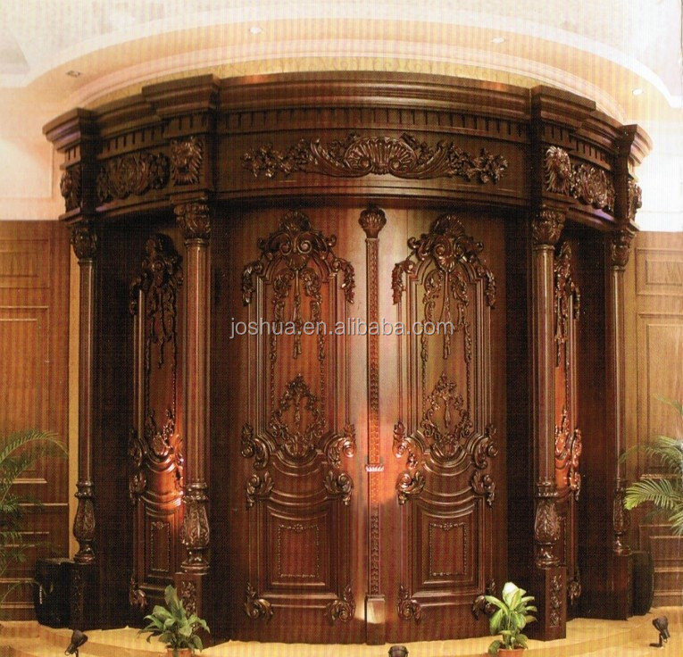 Arched Carved Double Wood Entry Door - Buy Decorative Front Double ...
