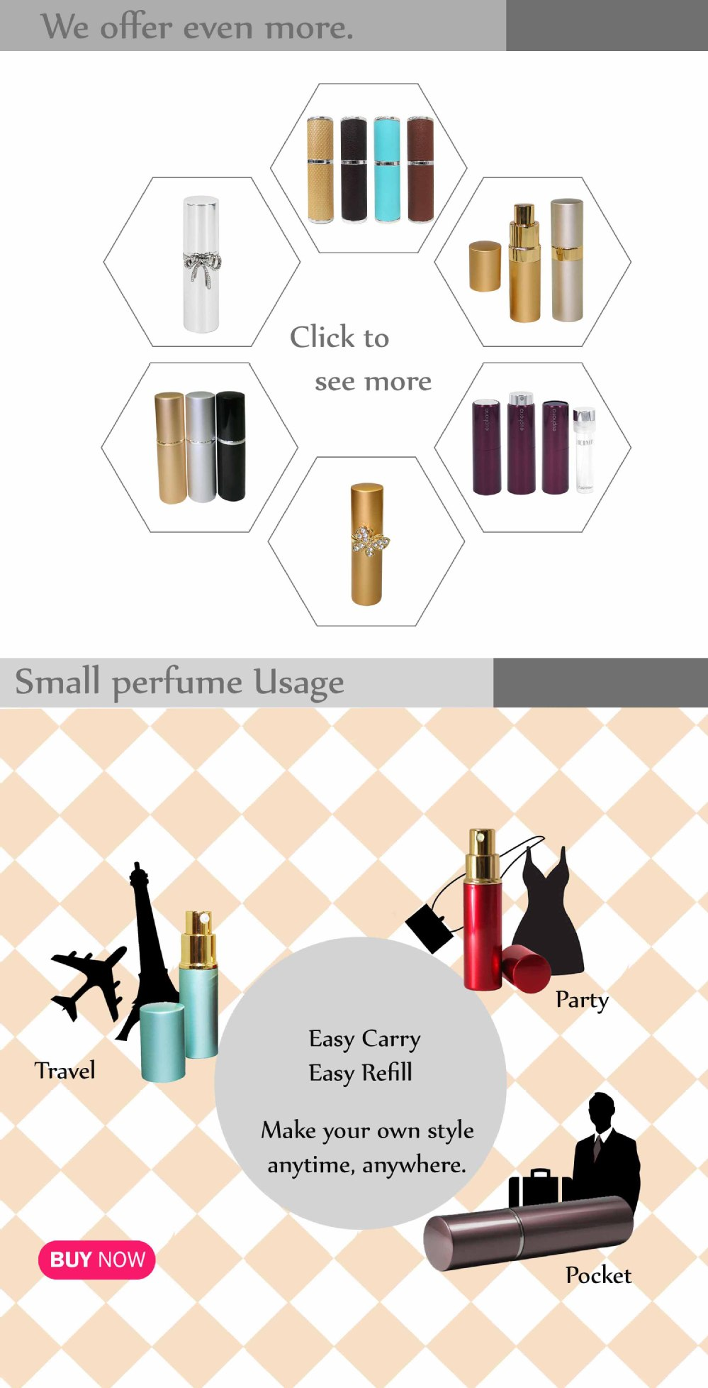 High quality graceful pink leather fragrance atomizer