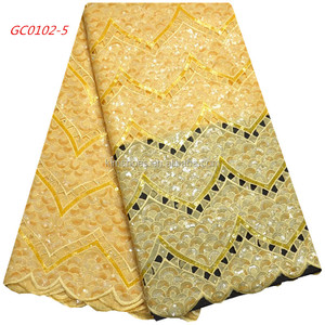 Yellow Sequin Lace Fabric Organza Lace Fabric 2018 Africa High Quality Lace Fabric 1052