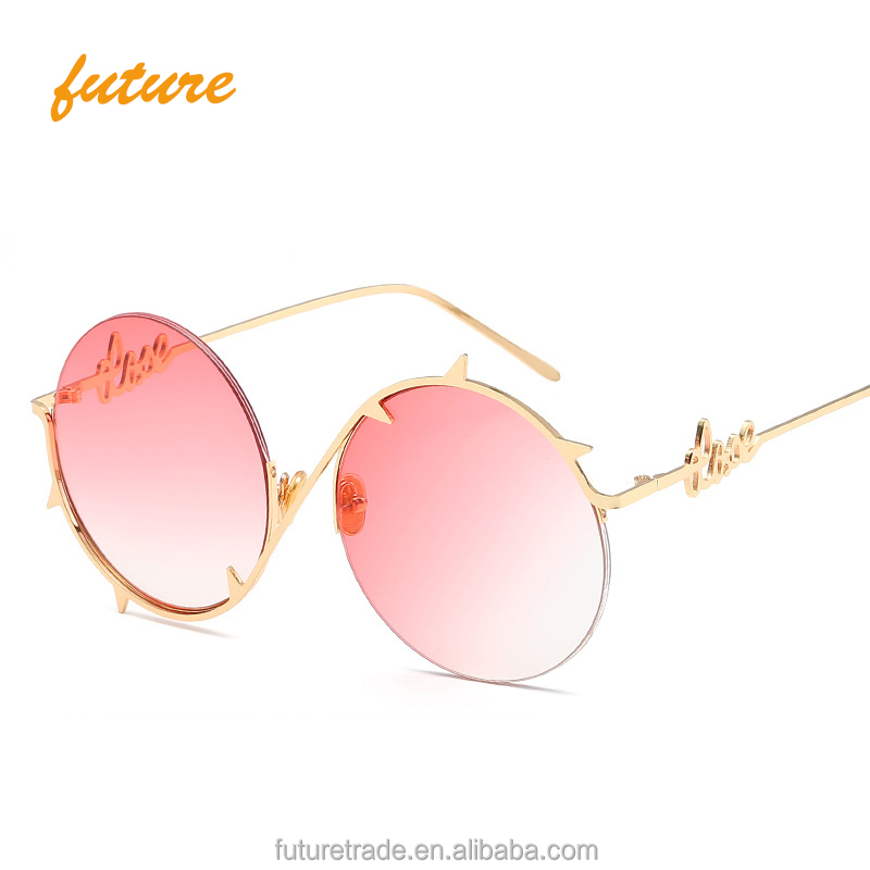 2018 nuevo de océano claro lente redonda espinas marco gafas de sol ...