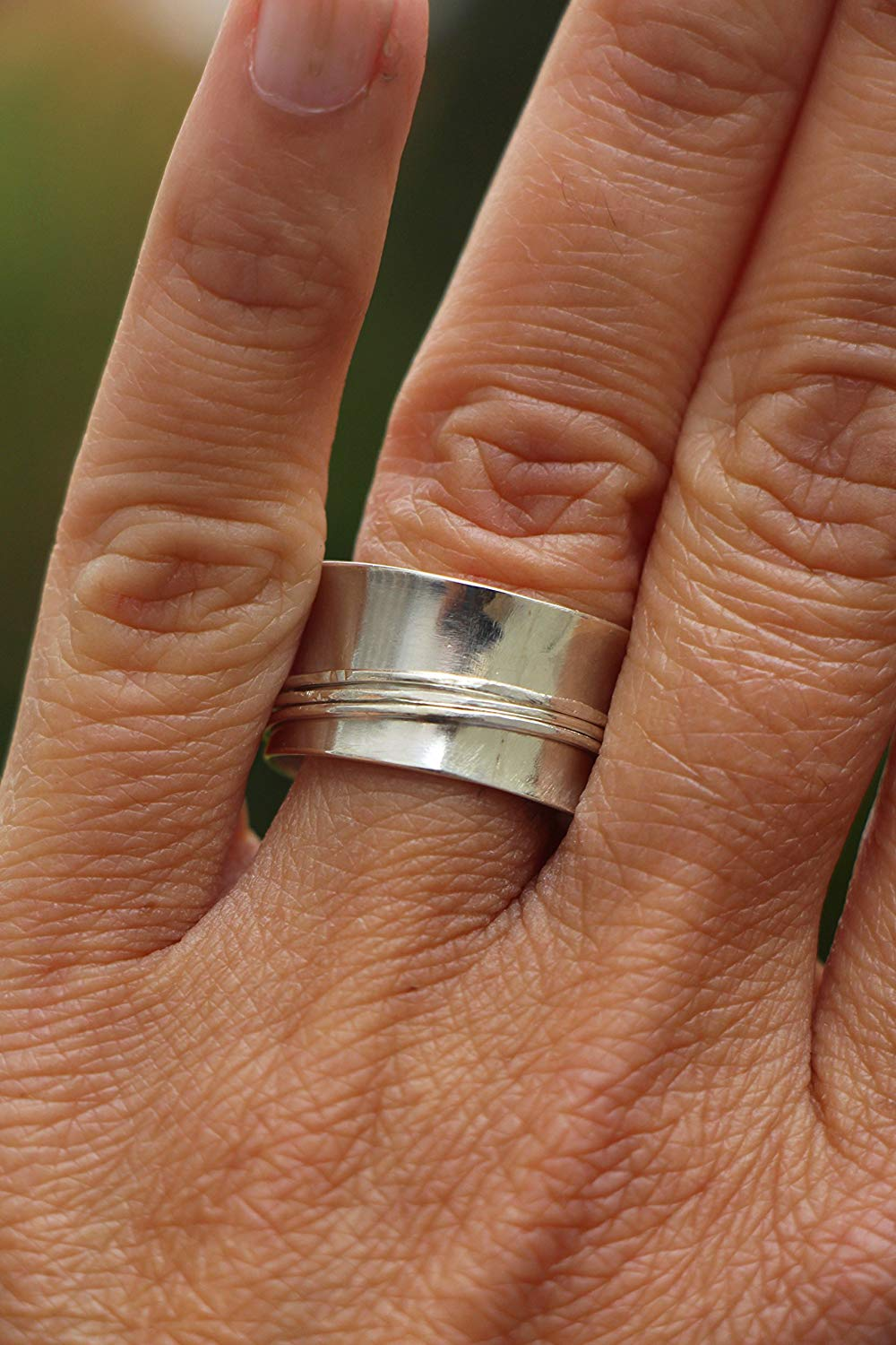 Wide Silver Ring, Spinner Silver Ring, Wide Band Sterling Silver Ring, Band Ring, Thick Silver Ring - Women's Silver Ring, Men's Silver Ring