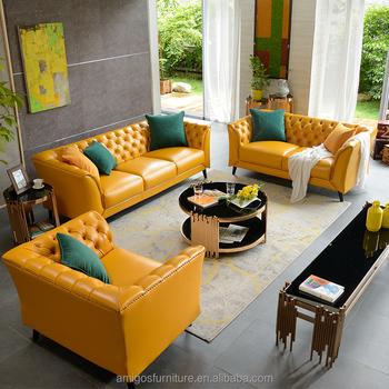 Yellow Leather Fancy Queen Elizabeth Sofa Furniture