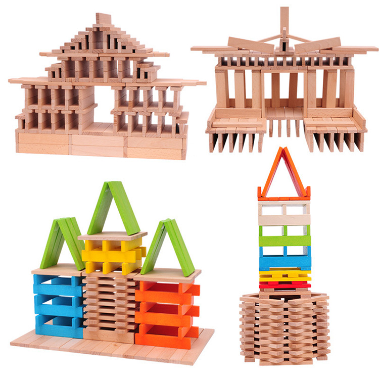 Baby Wood colors tablets Domino contains set Domino's accessories Children Montessori Wooden Building Blocks Toys