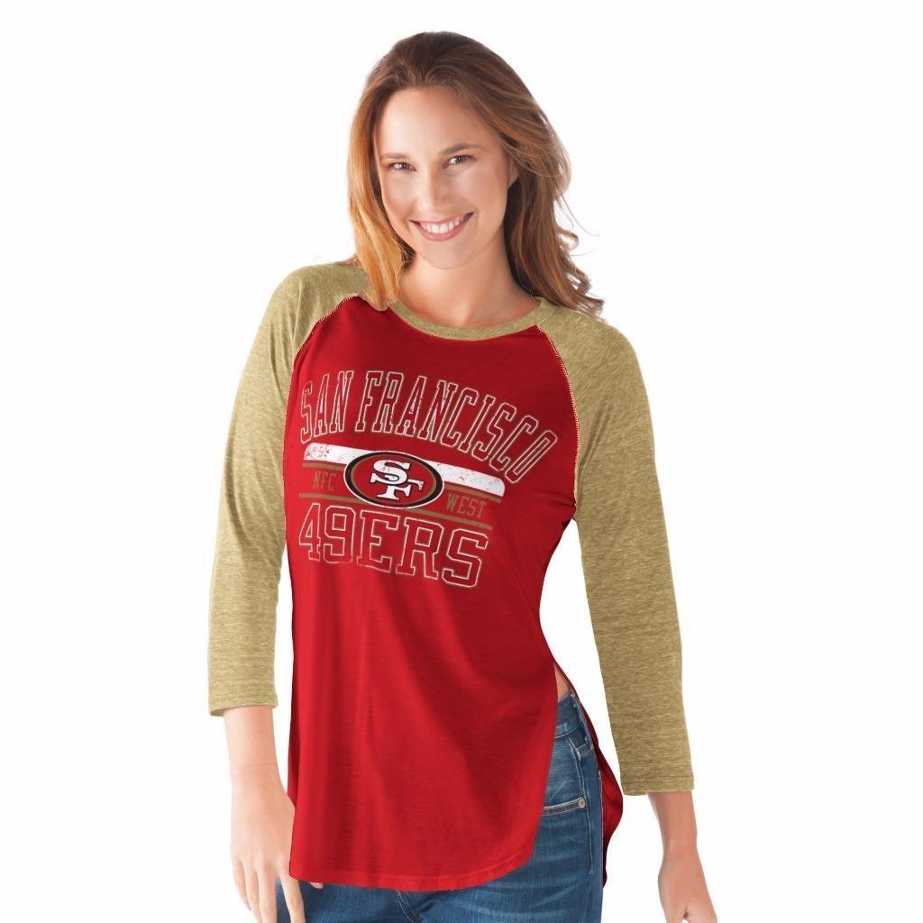 NFL Women's Hangtime Distressed Logo 3/4 Sleeve Tee (Large, San Francisco 49ers)