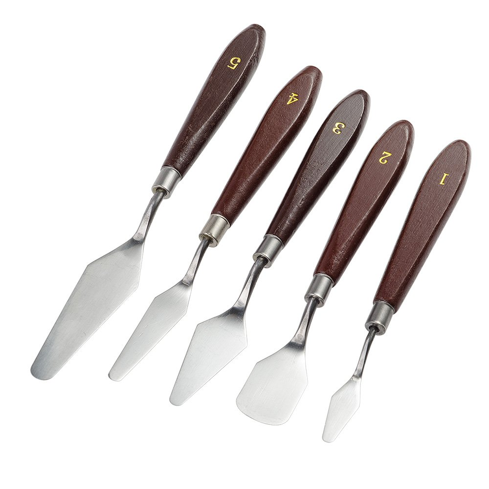 5 Pieces Painting Knives Stainless Steel Spatula Palette Knife Oil Painting Accessories Color Mixing Set for Oil, Canvas, Acrylic Painting-Lightwish