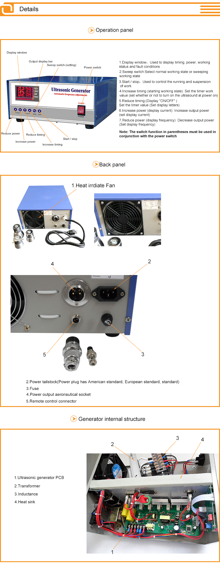 17KHz-200KHz High frequency ultrasonic generator ultrasonic cleaner generator