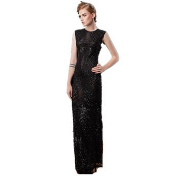 2018 Fashion Long Black Evening Party Dress Cheap Night Gowns Sheer