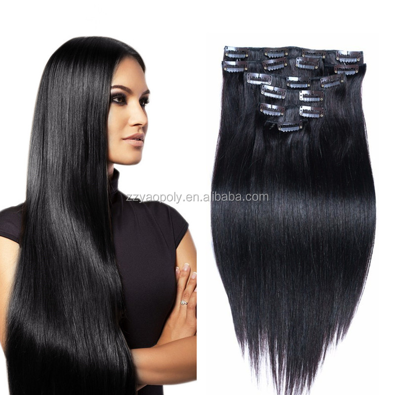 wholesale price 100% unprocessed brazilian virgin remy clip in human hair extension for <strong>black</strong> women