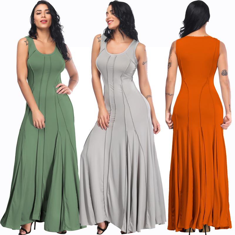 1133ee7113fd325 Плюс размер женщин Сексуальная шею длинным элегантное вечернее платье без  рукавов