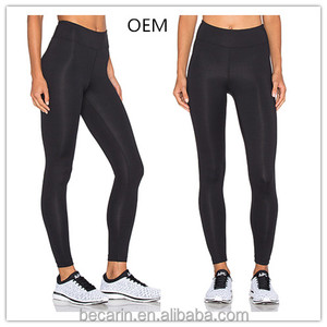 OEM full length basic style black yoga pants running leggings rPET fabric