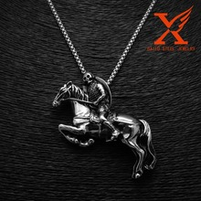 Stainless Steel Silver Skull Knight's Racing Horse Pendant for Men