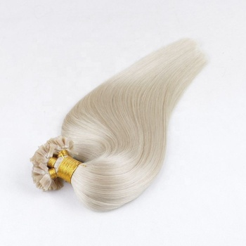 10A Top Bomb Quality Keratin 100% Remy Human Russian White Blonde Double Drawn Flat Tip Hair Extension