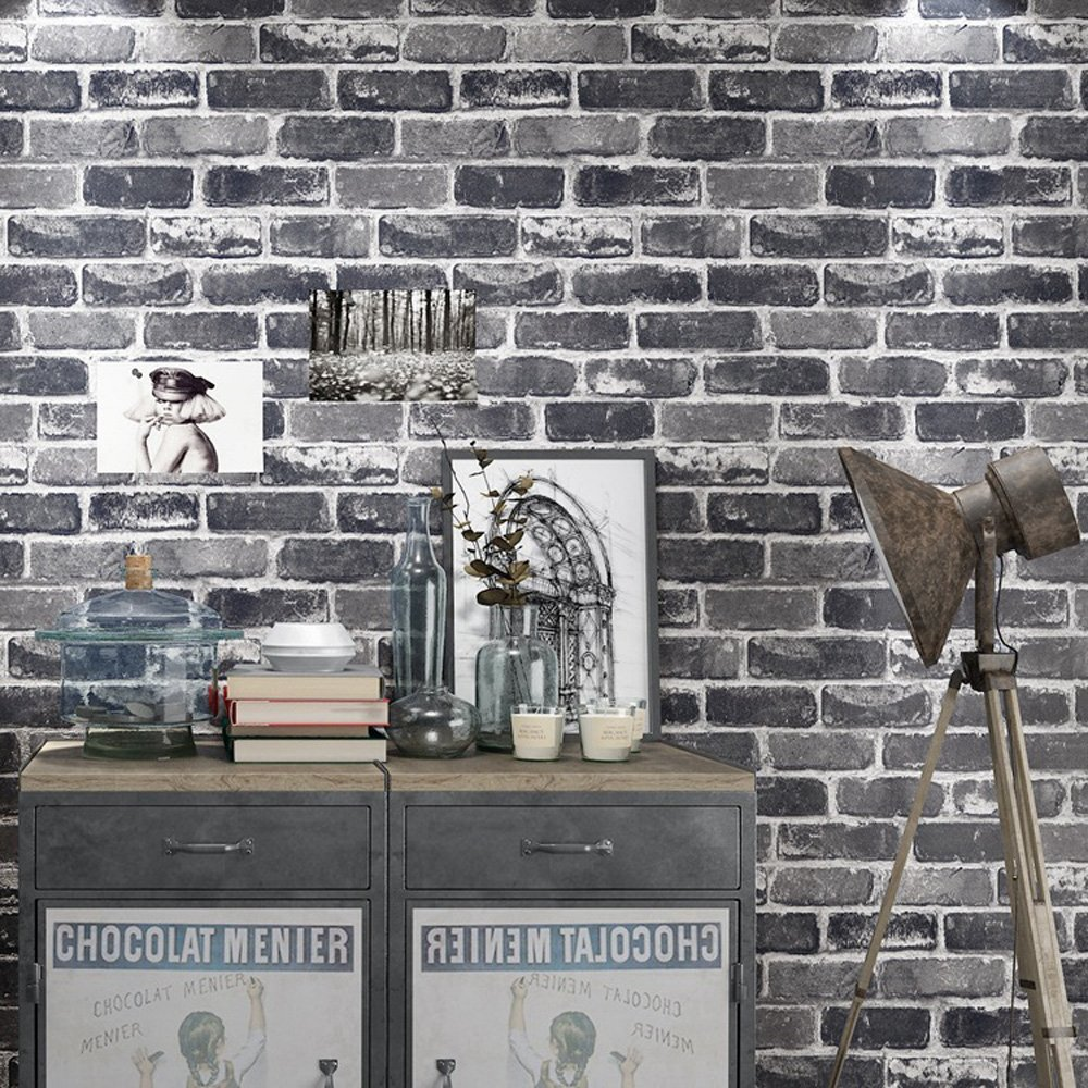 Buy Okydoky Vinyl Waterproof Vintage Grey Brick Wallpaper ...