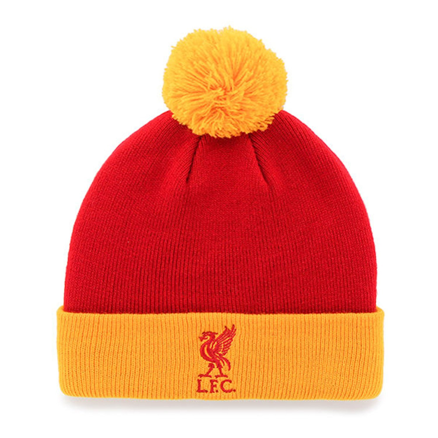 d3dc8d7b830 Get Quotations · Liverpool F.C Knitted Turn Up Bobble Hat Red Yellow