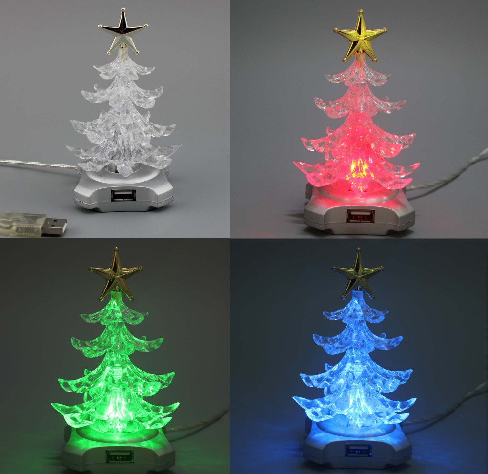 "2016 new tech popular Christmas USB gifts 5"" high colorful RGB Best seller 4 USB HUB tree for gift"