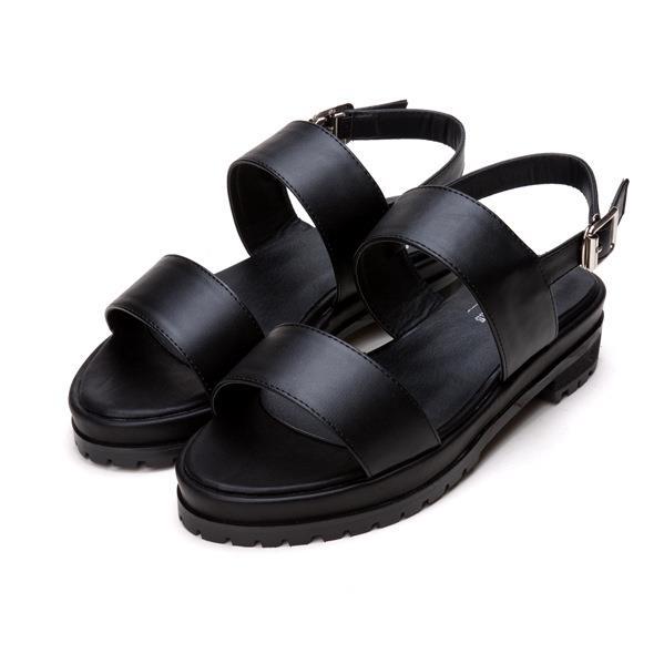 126606f70 Get Quotations · Women 2015 White Black Flat Sandals Buckle Strap Sandals  Back Strap Leather Sandalias Platform White Black