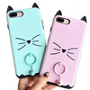 Fashion creative cat ears 2 in 1 combo TPU PC phone case ring phone case