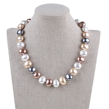 wholesale 13*16mm big egg shell pearl necklace for ladies