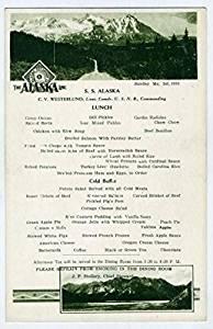 SS Alaska Menu Alaska Line 1932 Ketchikan & Gravina