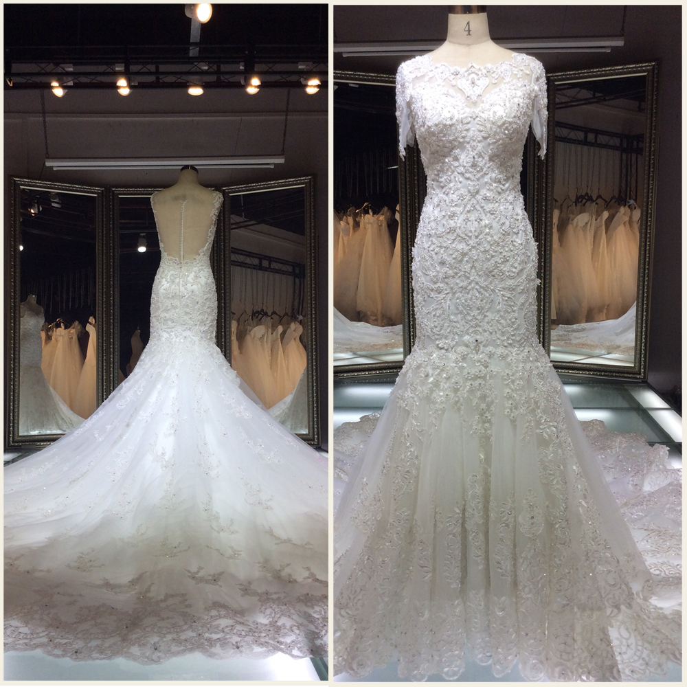 2015 Latest dress designsbridal off shoulder wedding dress/Mermaid lace beaded long tail court train