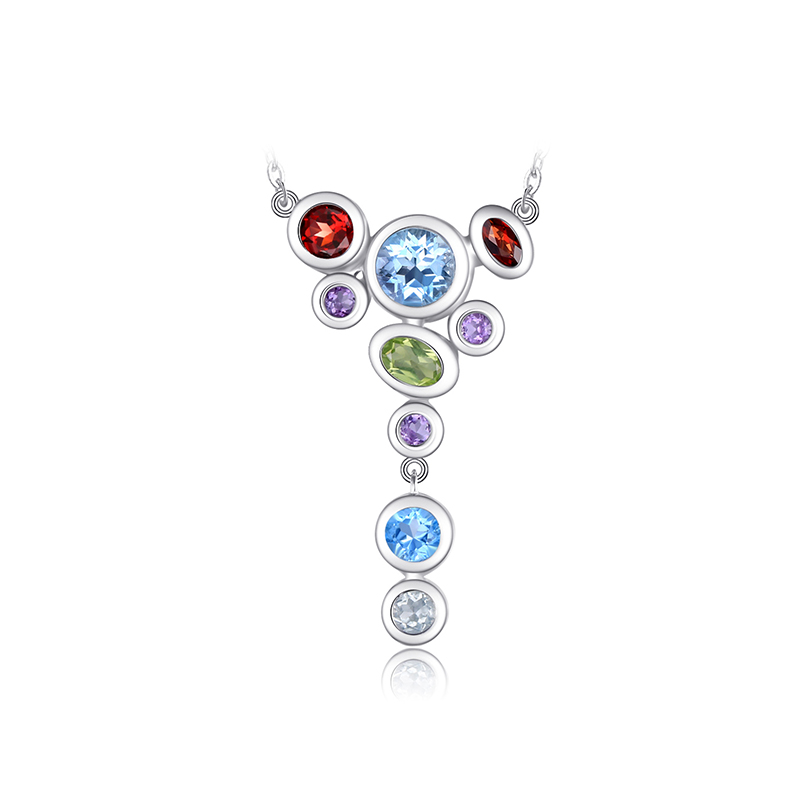 JewelryPalace Luxury 4.2ct MultiColor Genuine Amethyst Garnet Peridot Blue Topaz Pendant Necklace 925 Sterling Silver 18 Chain