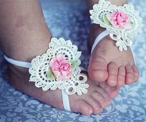 2018 Hot selling flower baby shoes decoration flower baby anklet