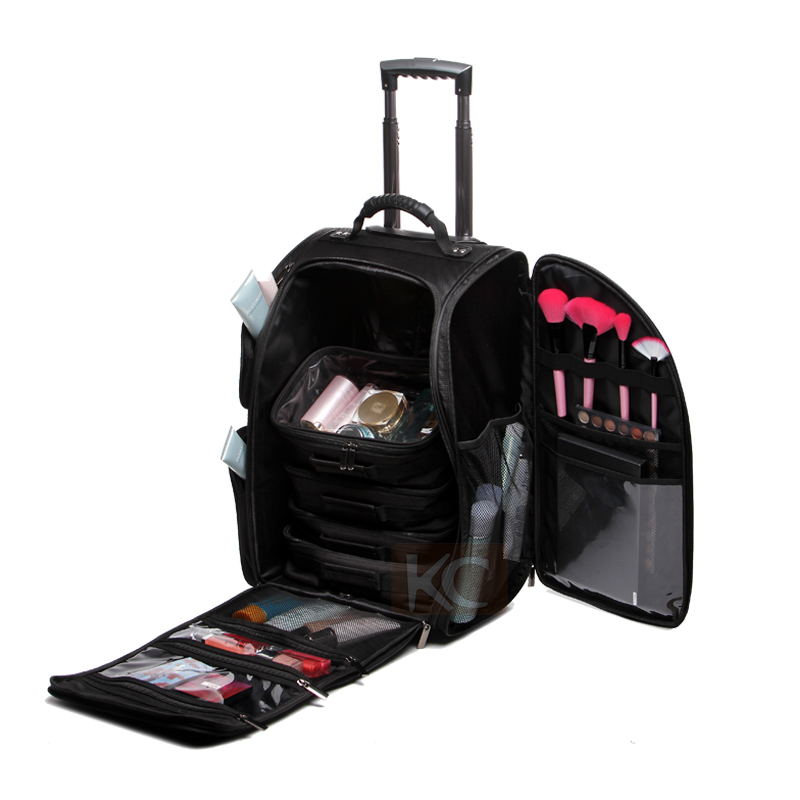 Black 1680d Nylon Rolling Trolley Professional Travel Cosmetic Bag