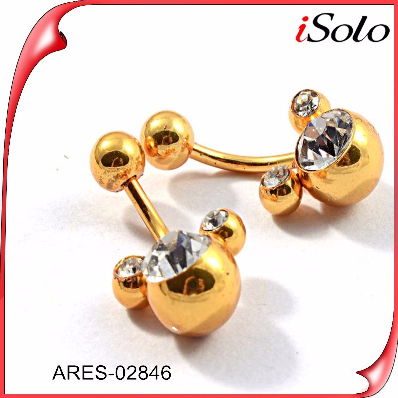 China Alibaba Designs Fashion Jewelry Earrings 2015 Manufacturer Wholesale Double Sided Gold Beads Earrings