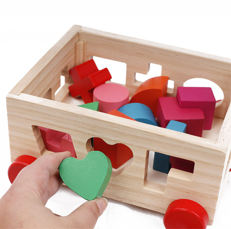 FQ brand intelligence push-pull pattern matching block 15 hole children's baby young 3d wooden block puzzle intelligence box toy