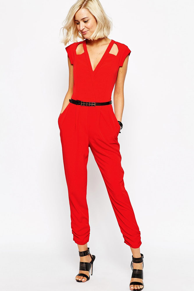 2900d87473f 2015 Autumn New Fashion Rompers Womens Jumpsuit Long Jumpsuit Sleeveless  V-Neck Red Cut out