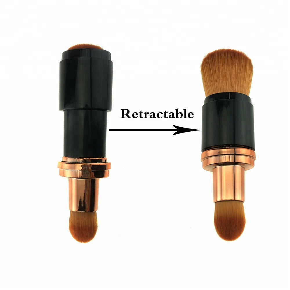 Hot selling rose gold aluminium plastic handvat pro intrekbare cosmetische make-up dubbele side meandersteken roterende foundation brush
